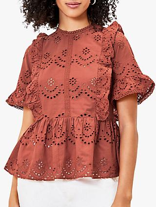 Oasis Broderie Frill Blouse, Mid Brown