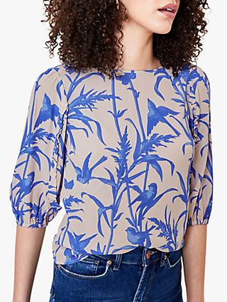 Oasis Bird Print Blouse, Natural/Blue