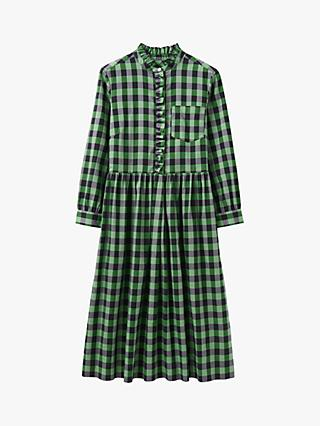 Toast Ine Check Cotton Shirt Dress, Green/Black