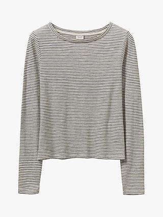 Toast Stripe Cotton Long Sleeve T-Shirt, Oatmeal