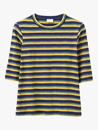 Toast Half Sleeve Cotton Stripe T-Shirt, Provence Blue/Lemon