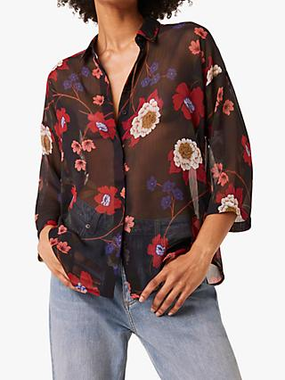 French Connection Eloise Crinkle Floral Print Shirt, Blue/Multi