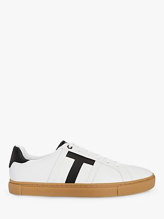 Ted Baker Tenpar Branded Leather Trainers, White