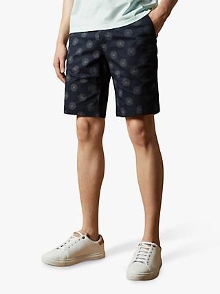 Ted Baker Warry Floral Print Cotton Shorts, Navy Blue
