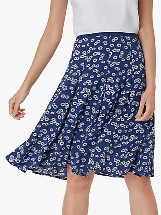 Hobbs Inez Floral Skirt, French Blue/Ivory