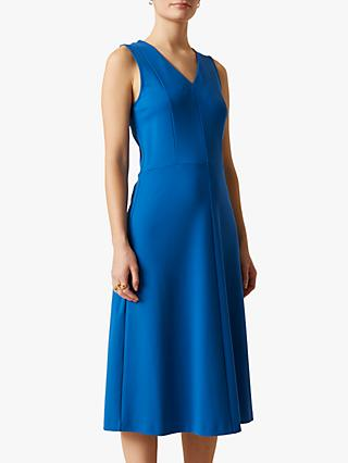 Jigsaw V-Neck Ponte Jersey Midi Dress, Aegen Blue