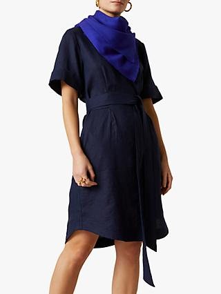 Jigsaw Linen Belted Dress, French Navy