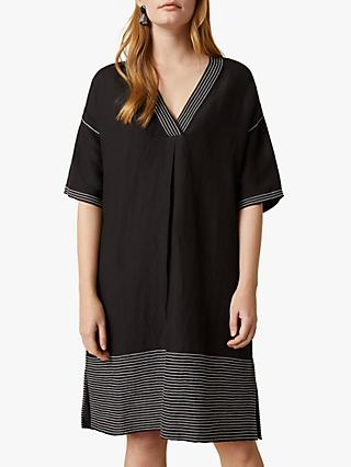 Jigsaw Amba Striped Kaftan Dress, Black