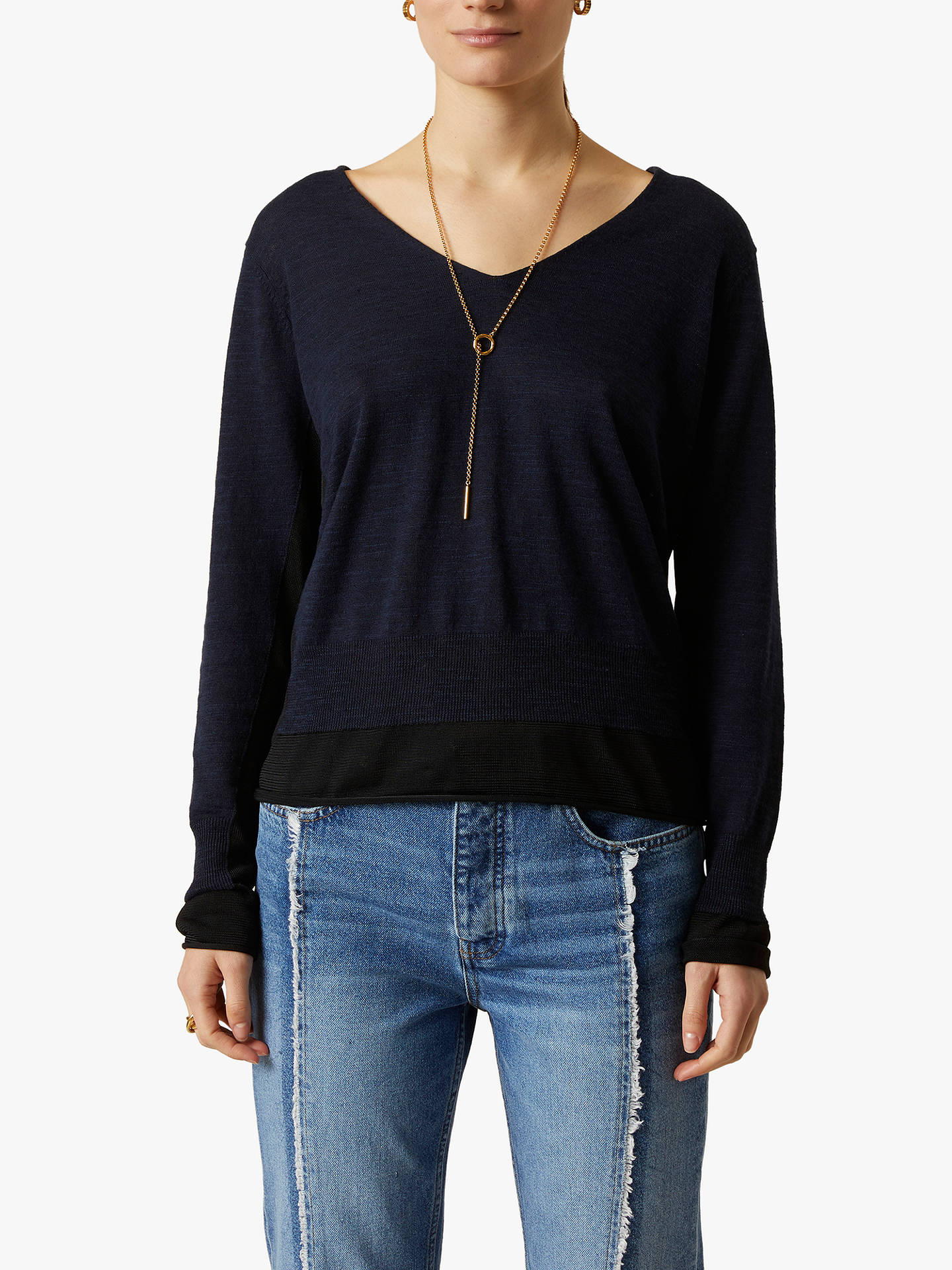 Buy Jigsaw V-Neck Linen Cotton Slub Jumper, French Navy, XS Online at johnlewis.com
