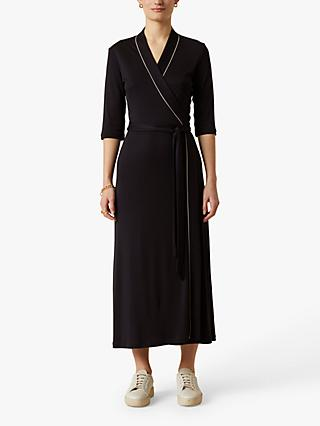 Jigsaw Tie Waist Wrap Jersey Dress, Navy