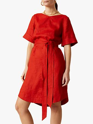 Jigsaw Linen Belted Dress, Paprika