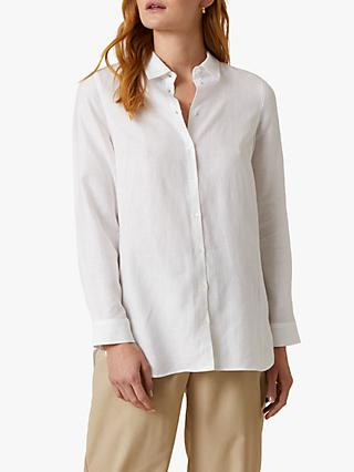 Jigsaw Cross Weave Linen Shirt, White