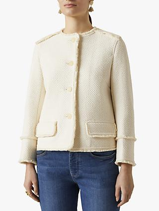 Jigsaw Honeycomb Pattern Tweed Jacket, Ivory