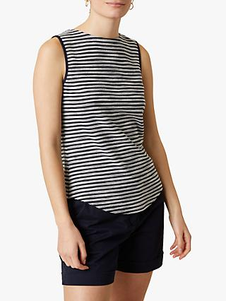 Jigsaw Textured Stripe Boat Neck Vest Top, French Navy
