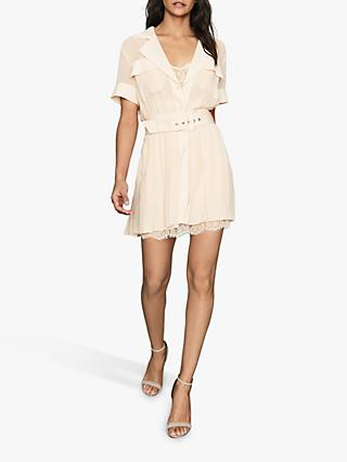 Reiss Fiona Lace Trim Utility Dress, Nude
