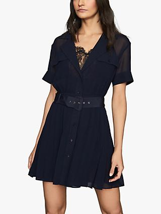 Reiss Fiona Lace Trim Utility Dress, Navy