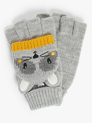 John Lewis & Partners Children's Raccoon Flip Top Knit Gloves, Grey