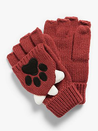 John Lewis & Partners Children's Fox Paw Flip Top Gloves, Dark Orange