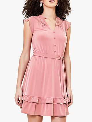 Oasis Heart Detail Tie Belt Skater Dress, Mid Pink
