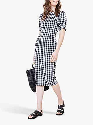 Oasis Gingham Midi Dress, Black/White