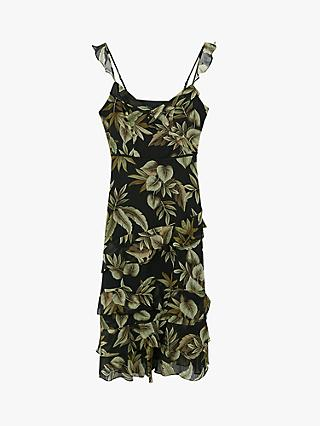 Oasis Palm Print Ruffle Tiered Dress, Black/Multi
