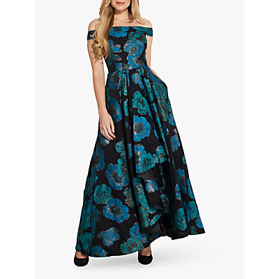 Product photo of Adrianna papell organza floral print draped gown aqua multi