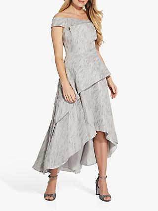 Adrianna Papell Textured Draped Gown, Silver