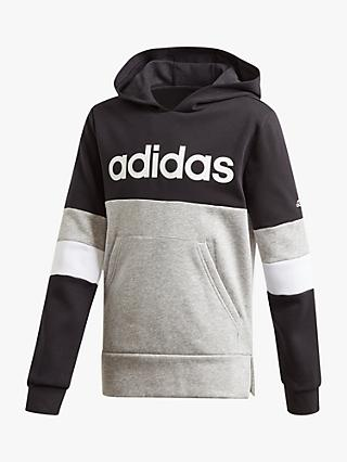 adidas Boys' Logo Colour-Block Hoodie, Grey/Black