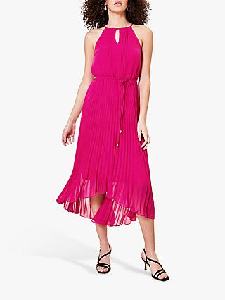 Oasis Pleated Keyhole Midi Dress, Hot Pink