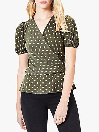 Oasis Foil Spot Wrap Blouse, Green/Multi