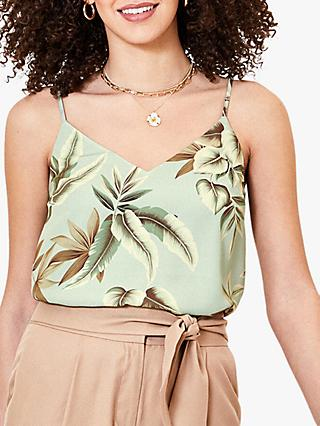Oasis Tropical Print Camisole Top, Green/Multi