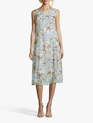Betty Barclay Floral Print Chiffon Shift Dress, Yellow/Petrol