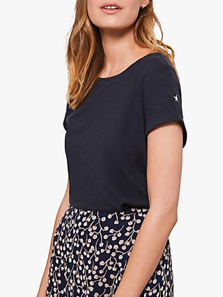 Mint Velvet Cotton Star T-Shirt, Dark Blue