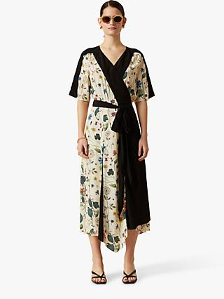 Jigsaw Floral Print Wrap Dress, Cream