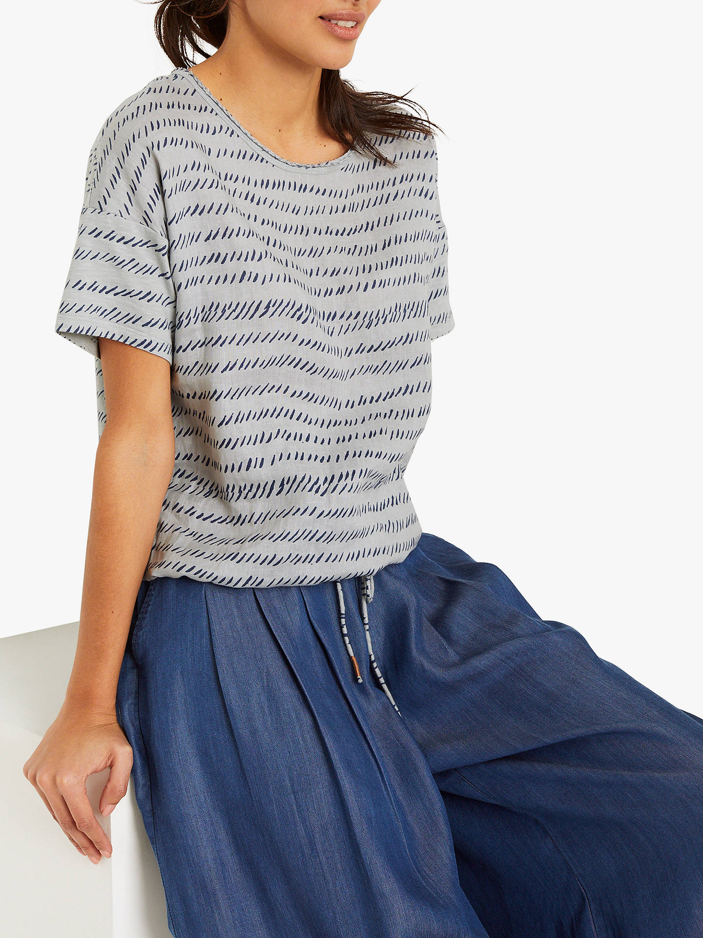 Buy White Stuff Summer Brush Stripe Cotton Jersey T-Shirt, Dusty Blue/Navy, 6 Online at johnlewis.com