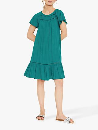 White Stuff Angel Sleeve Crinkle Mini Dress, Jade Green