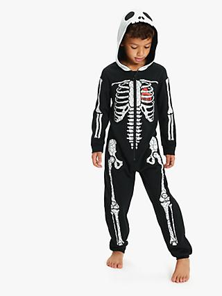 John Lewis & Partners Children's Glow In The Dark Skeleton Onesie, Black