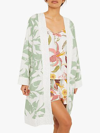 White Stuff Floral Flannel Robe, Mint