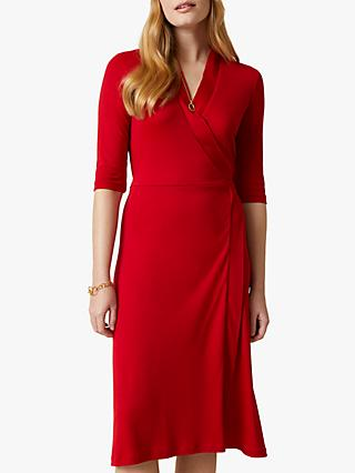 Jigsaw Short Tie Waist Wrap Dress, Admiral Red