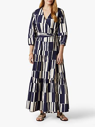 Jigsaw Tiered Block Print Maxi Dress, French Navy