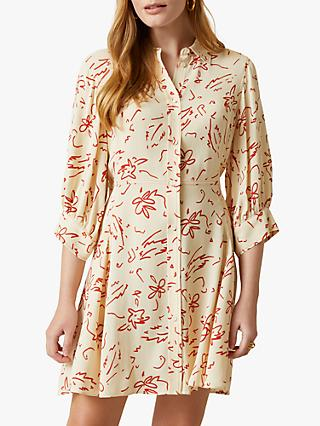 Jigsaw Scribble Print Shirt Dress, Vanilla