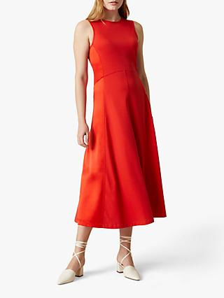 Jigsaw Silk Panel Cotton Jersey Midi Dress, Flame
