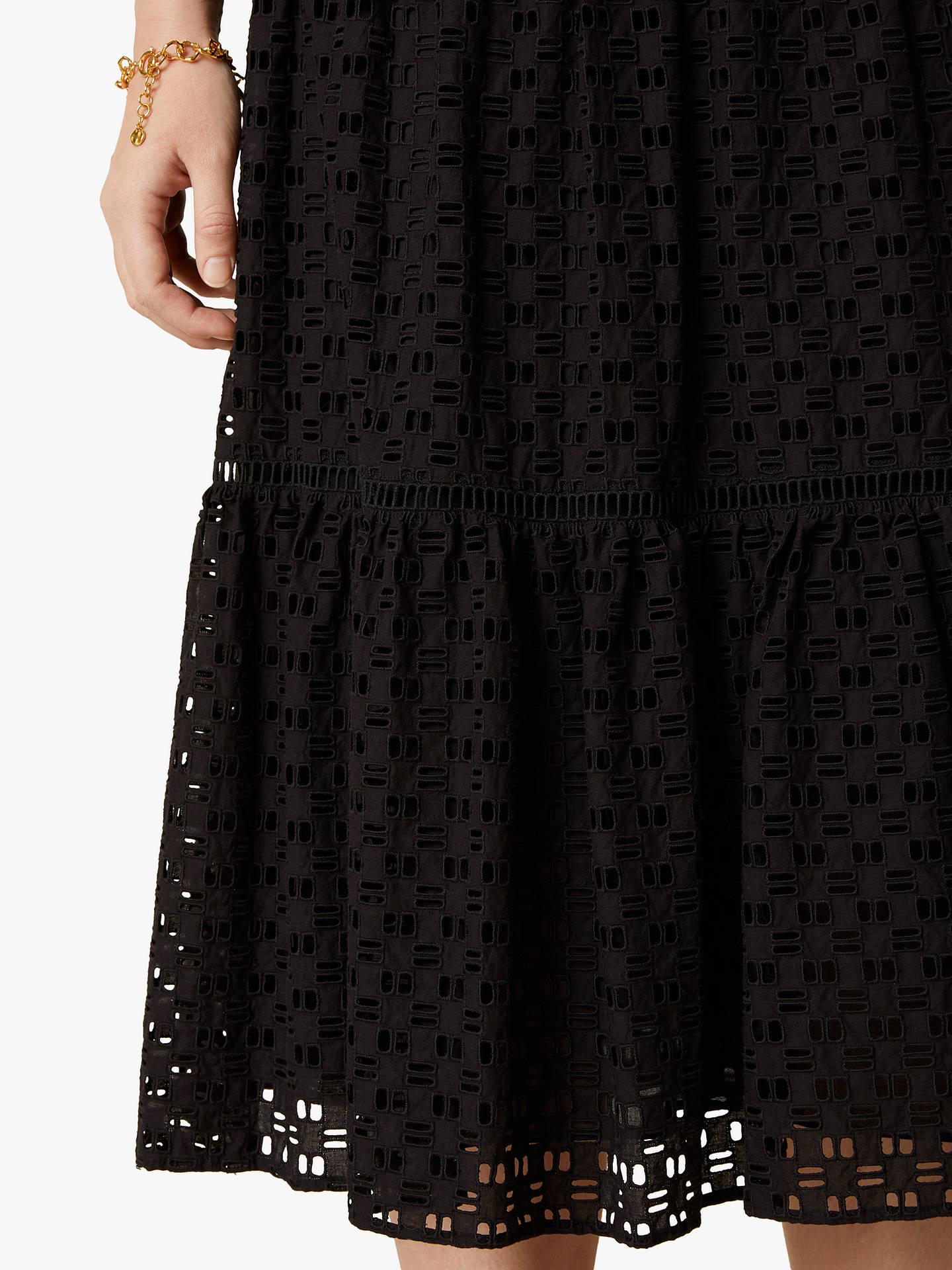 Jigsaw Broderie Midi Skirt Womens New Black