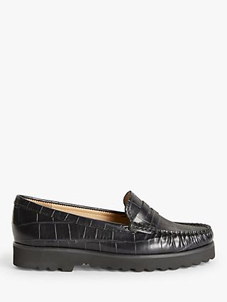 John Lewis & Partners Oslo Leather Slip On Platform Moccasins, Black