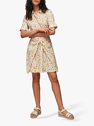Whistles Dolly Fruit Tie Front Dress, Cream/Multi