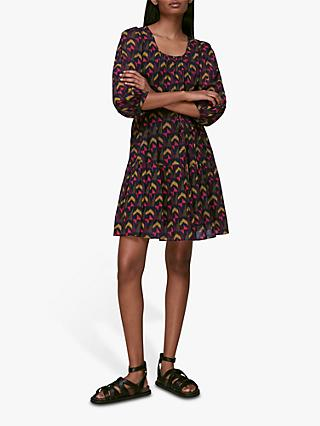 Whistles Geometric Print Mini Dress, Black/Multi