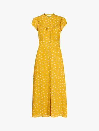 Whistles Isla Dandelion Print Maxi Dress, Yellow/Multi