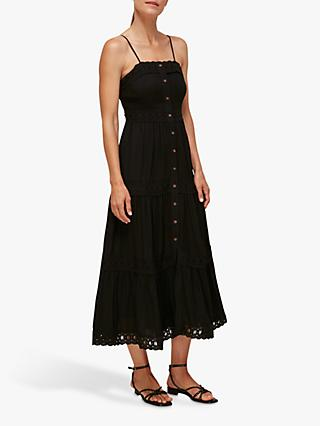 Whistles Strappy Lace Dress, Black