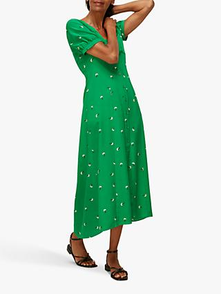 Whistles Romantic Floral Print Silk Midi Dress, Green/Multi
