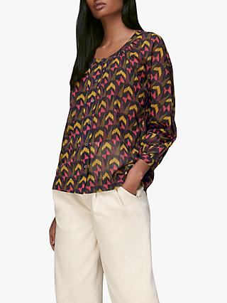 Whistles Geometric Ikat Voile Top, Multi